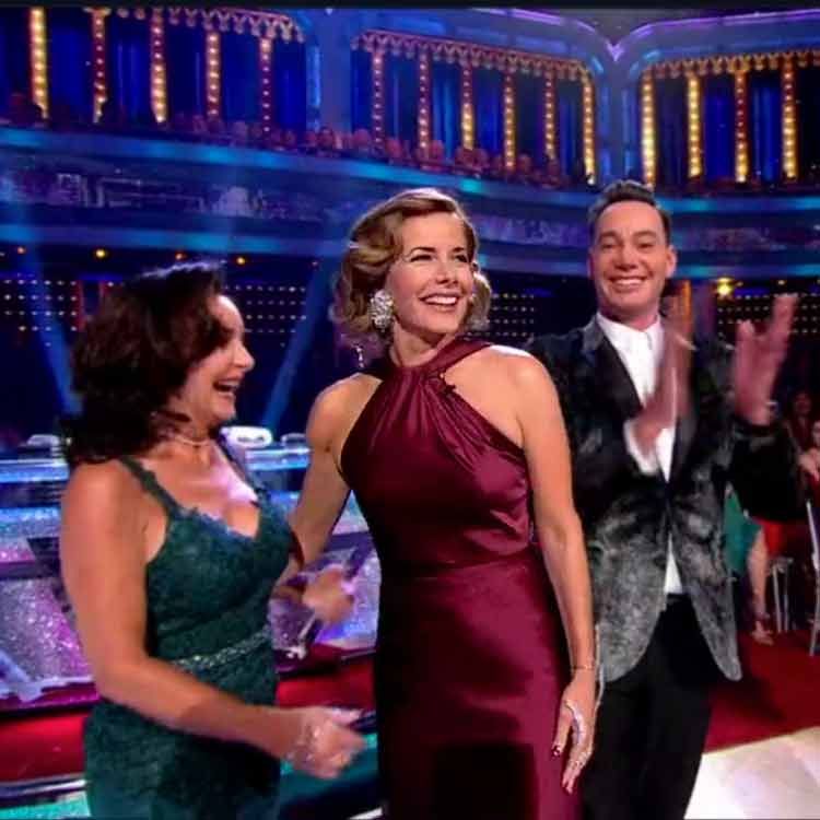 Darcey Bussell wears lovely knotted-neck evening gown on Strictly