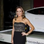 Natalie Pinkham beaded evening gown at Jaguar Awards 2014
