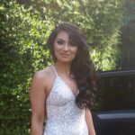 Silver & Ivory Sequin Evening Gown for Engagement Party
