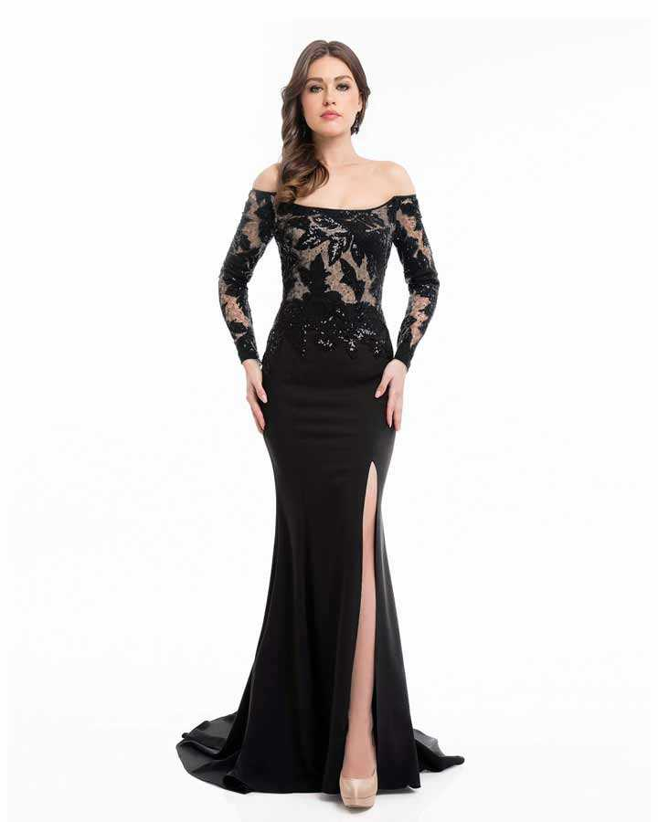 Sequin and velvet floral pattern applique on lace bodice with off shoulder long sleeves. Floor length stretch crepe skirt.
