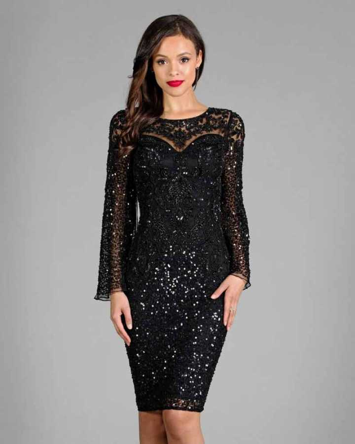 Black detailed sequin cocktail dress with sleeves