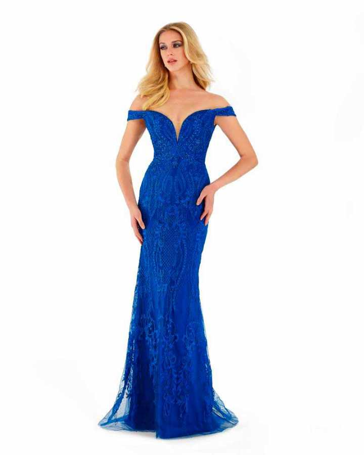 Royal blue plunging neckline off the shoulder embroidered gown