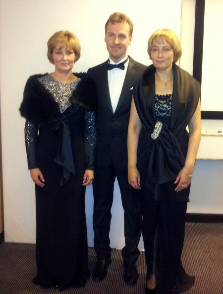 Winter Whites Gala: Long Sleeve Evening Dress in Black Jersey