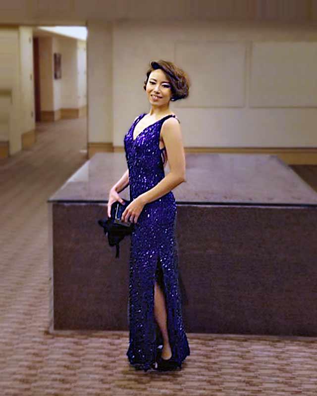 Long, side split, low back, all over sequin purple evening dress