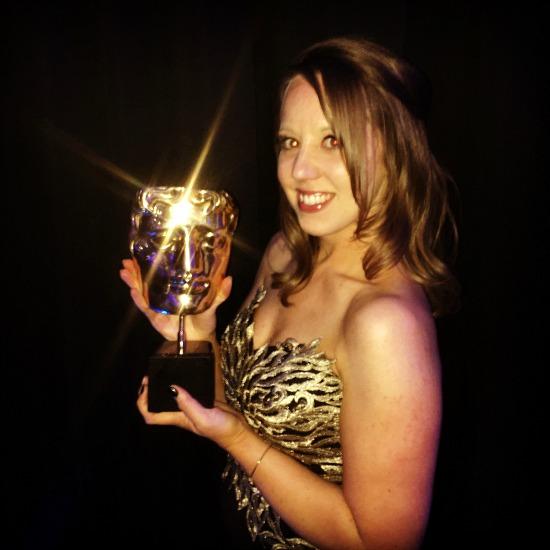 BAFTA: Black Jersey Evening Dress, Gold Bodice Detail