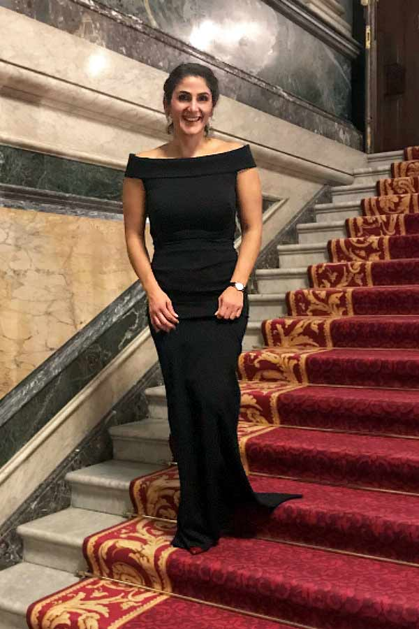 Elegant black formal dress for a Black Tie event, flattering & figure-hugging in all the right areas, as the material has a somewhat of a 'Spanx style' like fit all on its own.