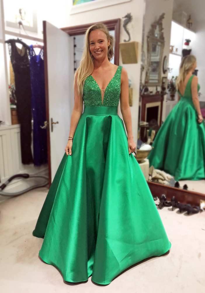 Green gala evening dress, embellished bodice, for birthday ball.