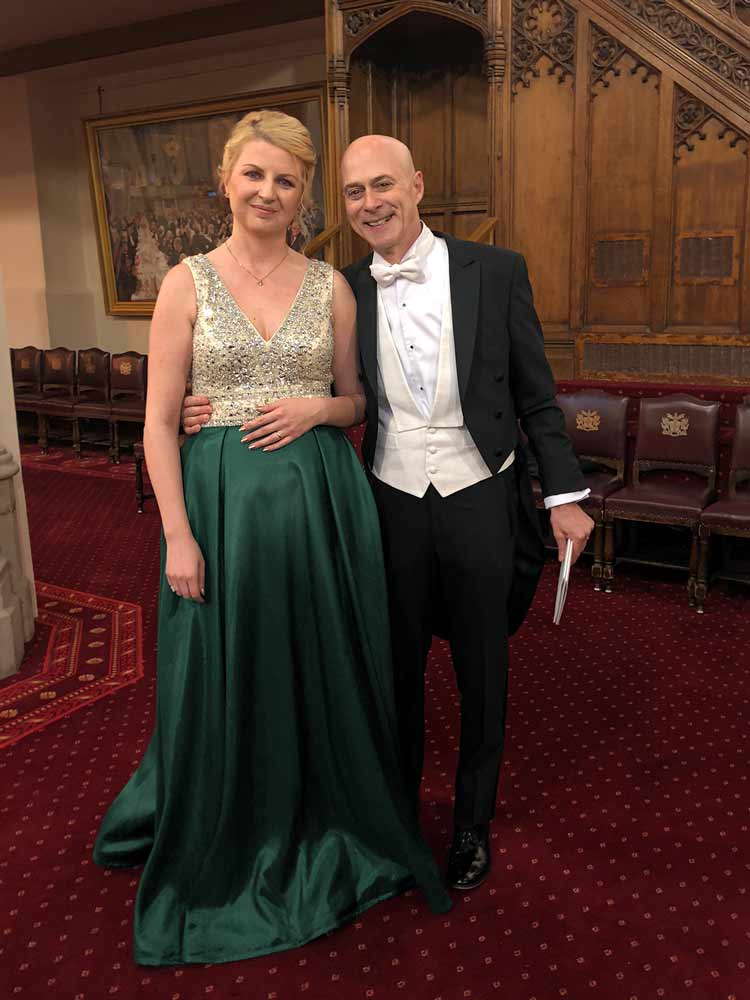 Classic ball gown for Livery Dinner at the Guildhall, London