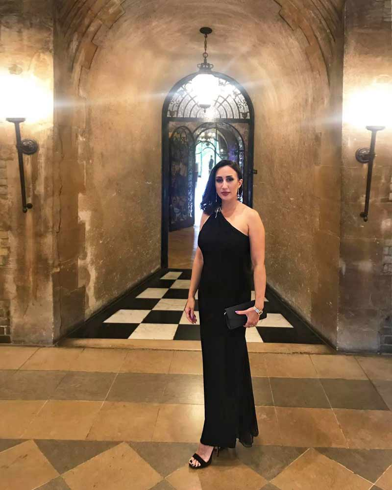 Black Asymmetric Evening Dress With Low Back, for Pennyhill Park Charity Dinner